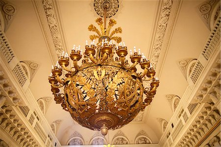 Ceiling light in Arms Room, Winter Palace, Hermitage Museum, St. Petersburg, Russia, Europe Stock Photo - Rights-Managed, Code: 841-06502243
