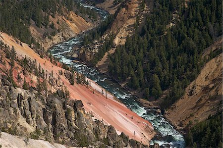 Grand Canyon of the Yellowstone River, from Inspiration Point, Yellowstone National Park, UNESCO World Heritage Site, Wyoming, United States of America, North America Stock Photo - Rights-Managed, Code: 841-06502705