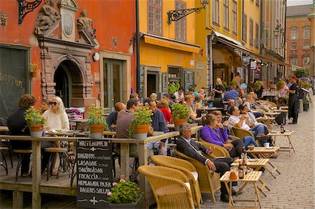 street cafe day - Stortorget Square cafes, Gamla Stan, Stockholm, Sweden, Scandinavia, Europe Stock Photo - Rights-Managed, Code: 841-06502817
