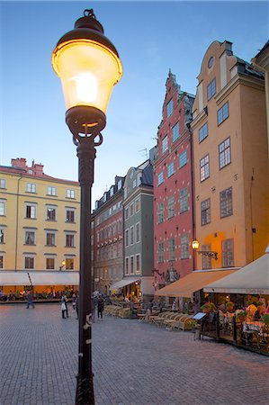 Stortorget Square cafes at dusk, Gamla Stan, Stockholm, Sweden, Scandinavia, Europe Stock Photo - Rights-Managed, Code: 841-06502825