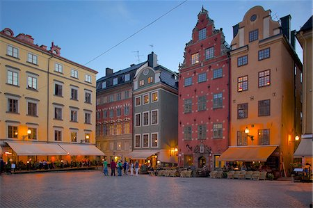 stockholm - Stortorget Square cafes at dusk, Gamla Stan, Stockholm, Sweden, Scandinavia, Europe Stock Photo - Rights-Managed, Code: 841-06502828