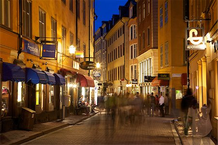 Busy street at dusk, Gamla Stan, Stockholm, Sweden, Scandinavia, Europe Stock Photo - Rights-Managed, Code: 841-06502837