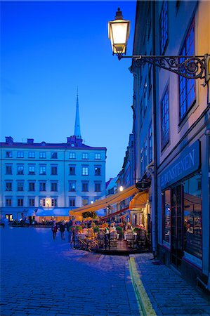 Stortorget Square cafes at dusk, Gamla Stan, Stockholm, Sweden, Scandinavia, Europe Stock Photo - Rights-Managed, Code: 841-06502830