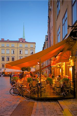 Stortorget Square cafes at dusk, Gamla Stan, Stockholm, Sweden, Scandinavia, Europe Stock Photo - Rights-Managed, Code: 841-06502831