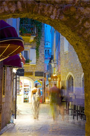 Old Town at night, Budva, Montenegro, Europe Stock Photo - Rights-Managed, Code: 841-06502927