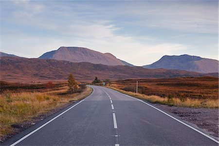 european (places and things) - The main road through Rannoch Moor, a Site of Special Scientific Interest, Highlands, Scotland, United Kingdom, Europe Stock Photo - Rights-Managed, Code: 841-06503287