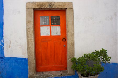 portugal - Door in the walled medieval town, declared national monument, Obidos, Estremadura, Portugal, Europe Stock Photo - Rights-Managed, Code: 841-06616347