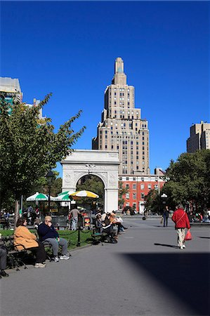square - Washington Square Park, Washington Square Arch, Greenwich Village, West Village, Manhattan, New York City, United States of America, North America Stock Photo - Rights-Managed, Code: 841-06616652