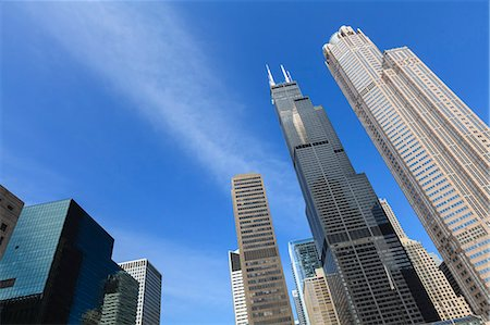 Chicago skyscrapers including the Willis Tower, formerly the Sears Tower, Chicago, Illinois, United States of America, North America Fotografie stock - Rights-Managed, Codice: 841-06616663