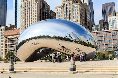 The Cloud Gate steel sculpture by Anish Kapoor, Millennium Park, Chicago, Illinois, United States of America, North America Stock Photo - Rights-Managed, Code: 841-06616707