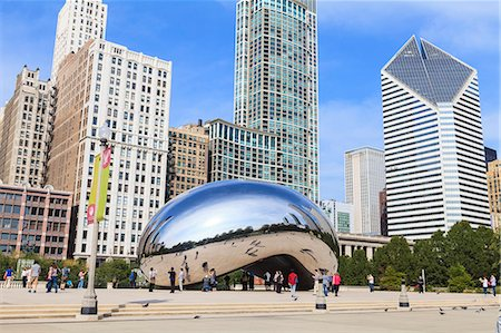 Millennium Park, The Cloud Gate steel sculpture by Anish Kapoor, Chicago, Illinois, United States of America, North America Fotografie stock - Rights-Managed, Codice: 841-06616709