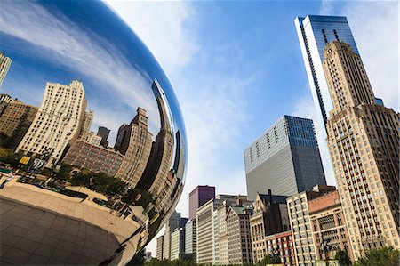 Tall buildings on North Michigan Avenue reflecting in the Cloud Gate steel sculpture by Anish Kapoor, Millennium Park, Chicago, Illinois, United States of America, North America Stock Photo - Rights-Managed, Code: 841-06616711