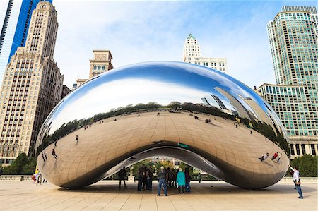 Millennium Park, The Cloud Gate steel sculpture by Anish Kapoor, Chicago, Illinois, United States of America, North America Stock Photo - Rights-Managed, Code: 841-06616712