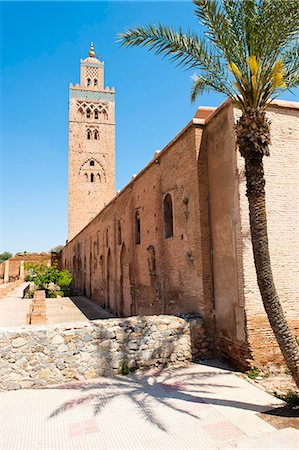 square - Katoubia Mosque and palm tree in Djemaa El Fna, the famous square in Marrakech, Morocco, North Africa, Africa Stock Photo - Rights-Managed, Code: 841-06804552