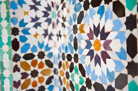 Colourful mosaic at Medersa Ben Youssef, the old Islamic school, Old Medina, Marrakech, Morocco, North Africa, Africa Stock Photo - Rights-Managed, Code: 841-06804564
