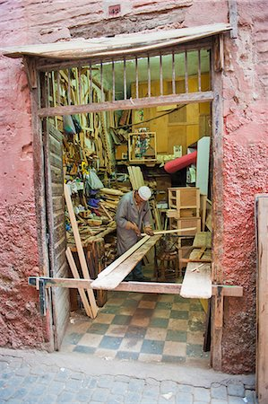 Carpenter in his workshop in the souk of Marrakech, Morocco, North Africa, Africa Stock Photo - Rights-Managed, Code: 841-06804573