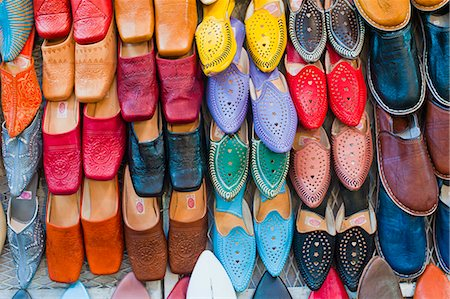 Colourful babouche (mens leather slippers) for sale in the Marrakech souks, Place Djemaa El Fna, Marrakech, Morocco, North Africa, Africa Stock Photo - Rights-Managed, Code: 841-06804586