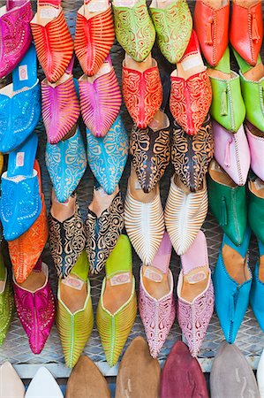 Colourful babouche for sale in thesouks in the old Medina, Place Djemaa El Fna, Marrakech, Morocco, North Africa, Africa Stock Photo - Rights-Managed, Code: 841-06804587
