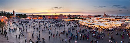 food stalls - Food stalls, people and Koutoubia Mosque at sunset, Place Djemaa el Fna, Marrakech, Morocco, North Africa, Africa Stock Photo - Rights-Managed, Code: 841-06804599