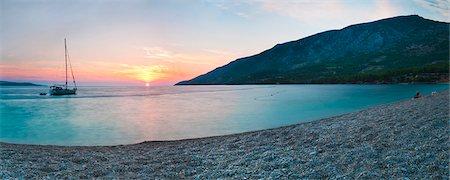 Brac Island, Zlatni Rat Beach at sunset, Bol, Dalmatian Coast, Adriatic, Croatia, Europe Stock Photo - Rights-Managed, Code: 841-06804694