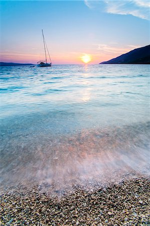 Adriatic Sea off Zlatni Rat Beach at sunset, Bol, Brac Island, Dalmatian Coast, Croatia, Europe Stock Photo - Rights-Managed, Code: 841-06804693