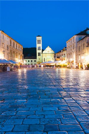 St. Stephens Cathedral in St. Stephens Square at night, Hvar Town, Hvar Island, Dalmatian Coast, Croatia, Europe Stock Photo - Rights-Managed, Code: 841-06804745