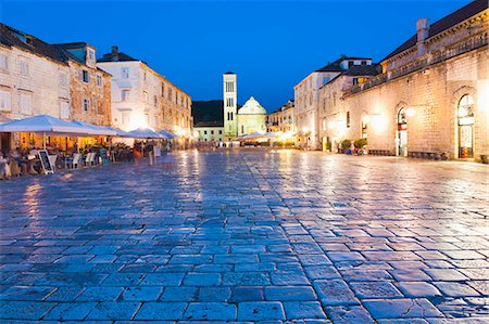 St. Stephens Cathedral in St. Stephens Square at night, Hvar Town, Hvar Island, Dalmatian Coast, Croatia, Europe Stock Photo - Rights-Managed, Code: 841-06804746
