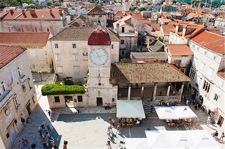 Loggia and St. Lawrence Square viewed from the Cathedral of St. Lawrence, Trogir, UNESCO World Heritage Site, Dalmatian Coast, Croatia, Europe Stock Photo - Rights-Managed, Code: 841-06804807