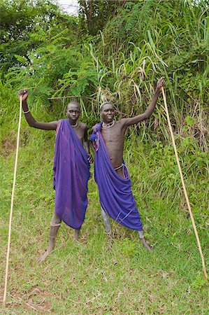 Two Surma men with scarification, Tulgit, Omo River Valley, Ethiopia, Africa Stock Photo - Rights-Managed, Code: 841-06805471