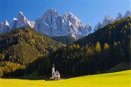Saint Johann Church, near Saint Magdalena, Val di Funes, Dolomites, Trentino-Alto Adige, South Tirol, Italy, Europe Stock Photo - Rights-Managed, Code: 841-06805547