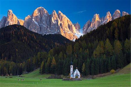 Saint Johann Church, near Saint Magdalena, Val di Funes, Dolomites, Trentino-Alto Adige, South Tirol, Italy, Europe Stock Photo - Rights-Managed, Code: 841-06805549