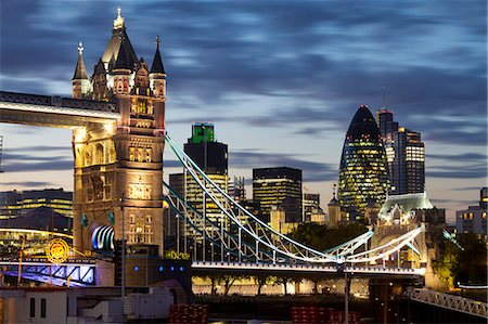 Tower Bridge and the City of London at night, London, England, United Kingdom, Europe Stock Photo - Rights-Managed, Code: 841-06805573