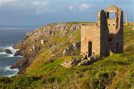 Abandoned Tin Mine near Botallack, UNESCO World Heritage Site, and rocky coast, Cornwall, England, United Kingdom, Europe Stock Photo - Rights-Managed, Code: 841-06805607