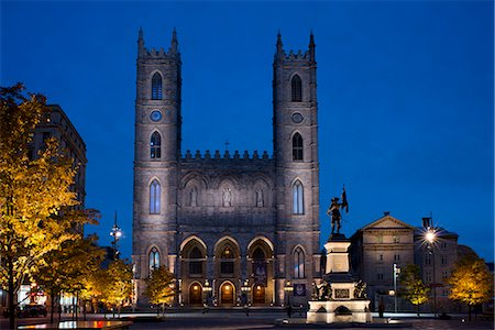 The Notre Dame Cathedral at dusk in the Place d'Arms, Montreal, Quebec Province, Canada, North America Stock Photo - Rights-Managed, Code: 841-06805616