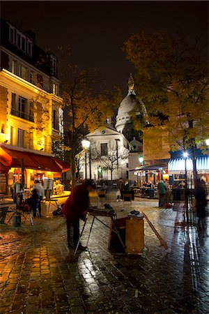 The Sacre Coeur and Montmartre on a rainy night, Paris, France, Europe Stock Photo - Rights-Managed, Code: 841-06805636
