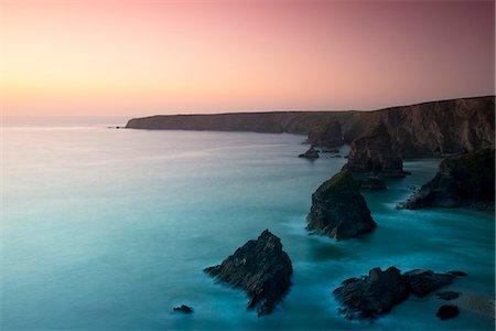 rock - A view of the Bedruthan Steps at dusk, Cornwall, England, United Kingdom, Europe Stock Photo - Rights-Managed, Code: 841-06805631