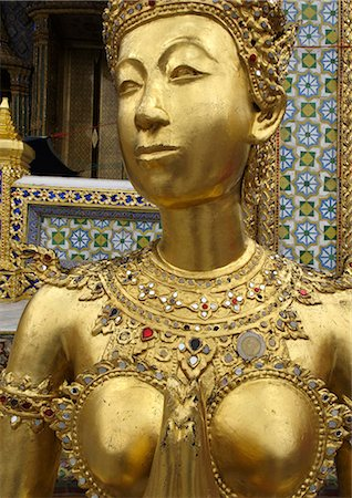 Statue of a kinnara, Wat Phra Kaew temple, Grand Palace. Bangkok, Thailand, Southeast Asia, Asia Stock Photo - Rights-Managed, Code: 841-06805881