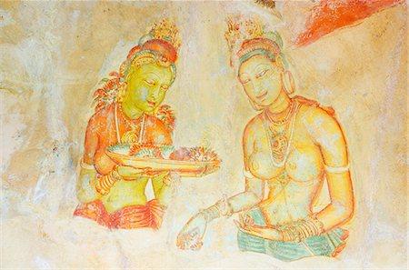 Ancient frescoes, Sigiriya, UNESCO World Heritage Site, North Central Province, Sri Lanka, Asia Stock Photo - Rights-Managed, Code: 841-06806031