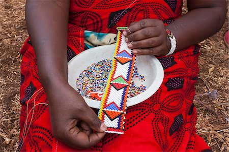 Maasai beadwork at the Predator Compensation Fund Pay Day, Mbirikani Group Ranch, Amboseli-Tsavo eco-system, Kenya, East Africa, Africa Stock Photo - Rights-Managed, Code: 841-06806104