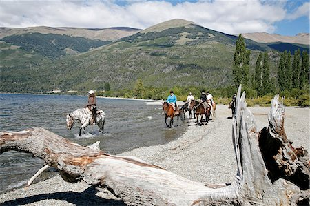 people in argentina - Horseback riding by Guttierez Lake in Estancia Peuma Hue, Patagonia, Argentina, South America Stock Photo - Rights-Managed, Code: 841-06806252