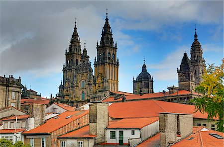 Cathedral spires in Old Town, Santiago de Compostela, UNESCO World Heritage Site, Galicia, Spain, Europe Stock Photo - Rights-Managed, Code: 841-06806578