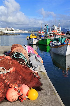 Fishing boats in harbour, Ponta Delgada Port, Sao Miguel Island, Azores, Portugal, Atlantic, Europe Stock Photo - Rights-Managed, Code: 841-06806615