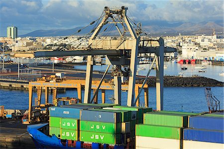ships at sea - Conatiner ship in the Port of Marmoles, Arrecife, Lanzarote Island, Canary Islands, Spain, Atlantic, Europe Stock Photo - Rights-Managed, Code: 841-06806632