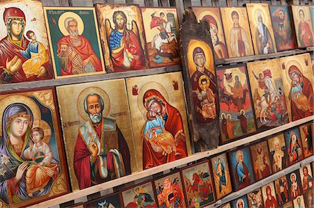 Greek Orthodox icons offered for sale outside the Alexander Nevsky Cathedral, Sofia, Bulgaria, Europe Stock Photo - Rights-Managed, Code: 841-06807389