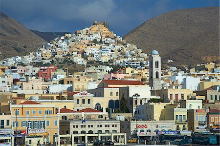 Ermoupoli (Khora) and Ano Syros, Syros Island, Cyclades, Greek Islands, Greece, Europe Stock Photo - Rights-Managed, Code: 841-06807583