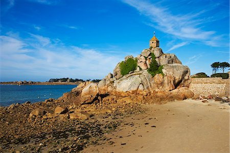 Notre Dame of Port Blanc church, Port Blanc, Cote de Granit Rose, Cotes d'Armor, Brittany, France, Europe Stock Photo - Rights-Managed, Code: 841-06807624