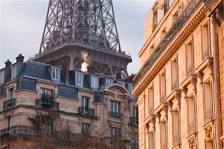 french (places and things) - The Eiffel Tower and typical Parisian apartments, Paris, France, Europe Stock Photo - Rights-Managed, Code: 841-06807844