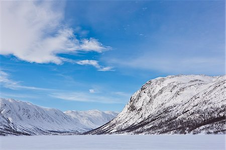 snow capped - Mountains flank a frozen lake in Mosstrond, near the Hardanger Plateau, Norway, Scandinavia, Europe Stock Photo - Rights-Managed, Code: 841-07084172