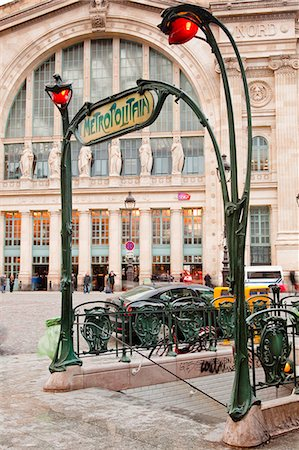paris - The art nouveau entrance to Gare du Nord metro station with the main railway station behind, Paris, France, Europe Stock Photo - Rights-Managed, Code: 841-07084194