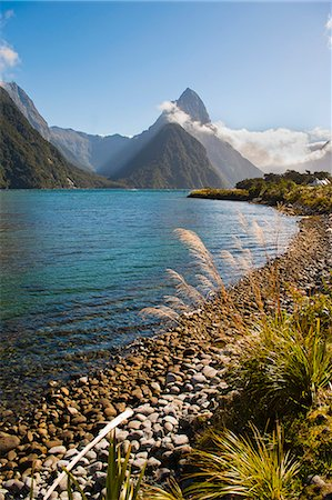 Mitre Peak, Milford Sound, Fiordland National Park, UNESCO World Heritage Site, South Island, New Zealand, Pacific Stock Photo - Rights-Managed, Code: 841-07080552